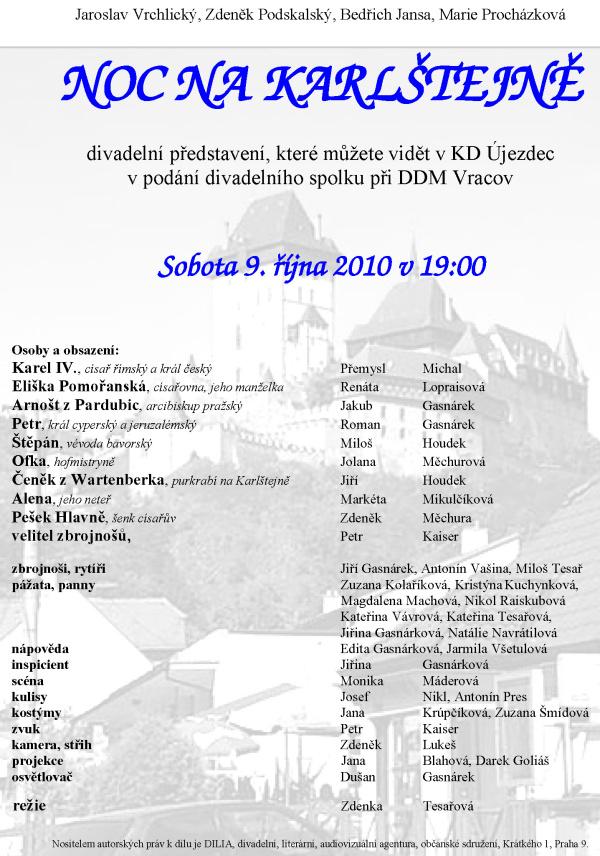 divadlo, Karlštejn, noc, DDM Vracov, Újezdec